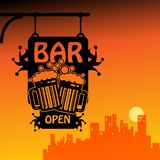 Bar open. Abstract color illustration Stock Photography