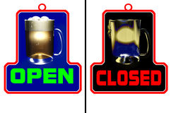 Bar open bar closed. Two signs to put at entrance of a bar, a pub or a tavern and inform if it's open or closed. The sign open is a full fresh beer mug. The sign stock illustration