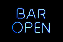 Bar open neon sign Stock Image