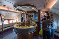 The bar for the passengers the first and business class of the world's largest aircraft Airbus A380. Stock Photos