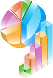 Bar and Pie Charts - transparenet. 3D Pie and Bar Graph business diagram icons - transparent Royalty Free Stock Images