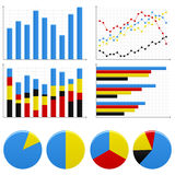 Bar Pie Graph Chart. A set of bar charts and pie charts to show statistic and report Royalty Free Stock Photos
