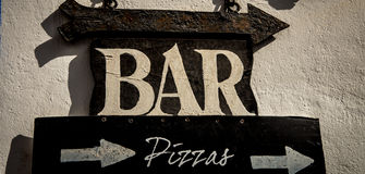 Bar and pizza sign Royalty Free Stock Image
