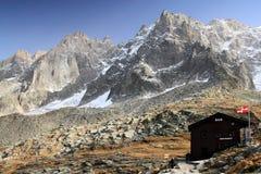Bar at Plan de Aiguille du Midi mountain range at 2,317m altitude royalty free stock photo