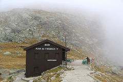 Bar at the Plan de L'Auguille station at altitude 2317 meters in the French Alps Royalty Free Stock Photography