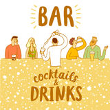 Bar posrer with  drinking people. Bar posrer with  people drinking. Including cocktails and drinks title. Colorful cartoon illustration for your design Stock Photo