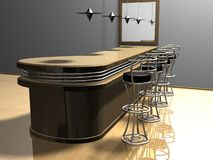 Bar Project. Modern reflective bar with stools, mirror&lamps stock illustration