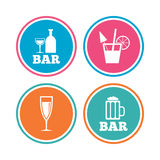 Bar or Pub icons. Glass of beer and champagne. Royalty Free Stock Image