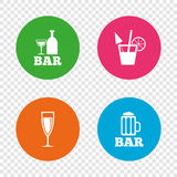 Bar or Pub icons. Glass of beer and champagne. Royalty Free Stock Images