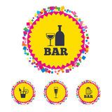Bar or Pub icons. Glass of beer and wine. Web buttons with confetti pieces. Bar or Pub icons. Glass of beer and wine signs. Alcohol drinks and cocktail symbols Royalty Free Stock Image