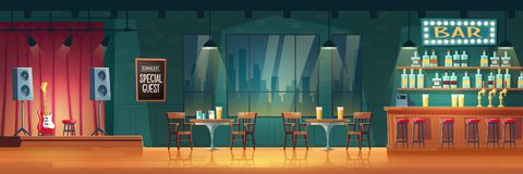Bar with live music cartoon vector interior royalty free stock photography