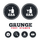 Bar or Pub sign icon. Wine bottle and Glass. Grunge post stamps. Bar or Pub sign icon. Wine bottle and Glass symbol. Alcohol drink symbol. Information, download Stock Photos