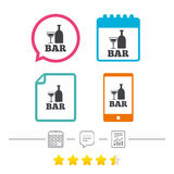 Bar or Pub sign icon. Wine bottle and Glass. Bar or Pub sign icon. Wine bottle and Glass symbol. Alcohol drink symbol. Calendar, chat speech bubble and report Royalty Free Stock Photos