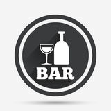 Bar or Pub sign icon. Wine bottle and Glass. Bar or Pub sign icon. Wine bottle and Glass symbol. Alcohol drink symbol. Circle flat button with shadow and border Stock Photo