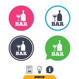 Bar or Pub sign icon. Wine bottle and Glass. Bar or Pub sign icon. Wine bottle and Glass symbol. Alcohol drink symbol. Report document, information sign and Stock Images