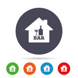 Bar or Pub sign icon. Wine bottle and Glass. Royalty Free Stock Photos