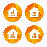 Bar or Pub sign icon. Wine bottle and Glass. Bar or Pub sign icon. Wine bottle and Glass symbol. Alcohol drink symbol. Triangular low poly buttons with flat Royalty Free Stock Image