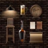 Bar, pub stuff. Vector bar, pub stuff stool, counter, alcohol bottle, mug of beer, menu, barrel and lamp Royalty Free Stock Images