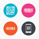 Bar and Qr code icons. Scan barcode symbol Royalty Free Stock Photos