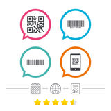 Bar and Qr code icons. Scan barcode symbol. Stock Photo