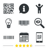 Bar and Qr code icons. Scan barcode symbol. Royalty Free Stock Image