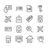 Bar and qr code scanning vector thin line icons Stock Photos