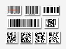 Bar and qr code sticker set Royalty Free Stock Photo