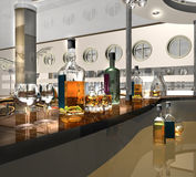 Bar rack. 3dmax.The project of an interior of cafe Royalty Free Stock Photography