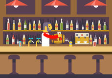 Bar Restaurant Cafe with Barkeeper Character Royalty Free Stock Photography