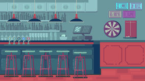 Bar Restaurant with counter in flat style. Banner of interior with bar counter, bar chairs and shelves with alcohol Stock Image