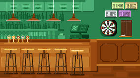 Bar Restaurant with counter in flat style. Vector banner of interior with bar counter, bar chairs and shelves with alcohol Stock Photo