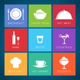 Bar and restaurant flat style vector icon set. Royalty Free Stock Photography