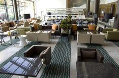 Bar restaurant in hotel lobby stock photo