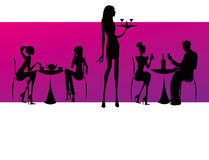 Bar restaurant lounge coffee women Illustration Royalty Free Stock Image