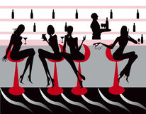 Bar restaurant lounge coffee women Illustration Royalty Free Stock Images