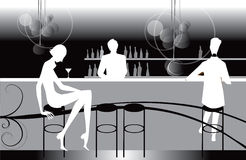 Bar restaurant lounge coffee women Illustration Stock Photography