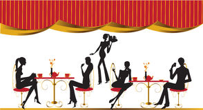 Bar restaurant lounge coffee women Illustration Stock Images