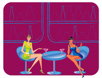 Bar restaurant lounge coffee women Illustration ve Royalty Free Stock Photos