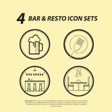 4 Bar & Resto Icon Sets stock illustration