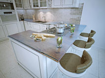 Bar in rich classic kitchen Stock Image