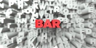 BAR - Rode tekst op typografieachtergrond - 3D teruggegeven royalty vrij voorraadbeeld Royalty-vrije Stock Afbeeldingen