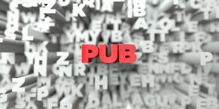 BAR - Rode tekst op typografieachtergrond - 3D teruggegeven royalty vrij voorraadbeeld Royalty-vrije Stock Foto's