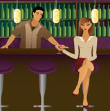 Bar Scene. Woman sits at the bar, drink in hand... flirting with patrons and possibly the bartender Royalty Free Illustration