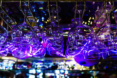 Bar Scene. This image of a bar scene was taken in a restaurant in Old Town San Diego. A string of purple lights was hanging in the bar area that created stock photo