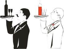 Bar server. In black and color royalty free illustration