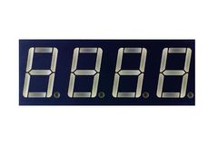 Bar of seven segment LED indicators isolated on white background stock image