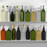 The bar shelves with bottles Stock Images