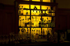Bar shelves in vintage hotel Royalty Free Stock Photography
