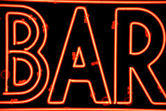Bar sign. A close-up of a red neon bar sign Royalty Free Stock Image