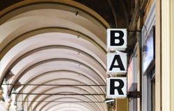 Bar. Sign in Bologna. Italy Royalty Free Stock Photo